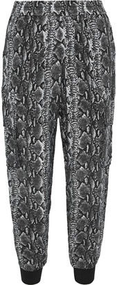 Alice + Olivia Jadon Cropped Snake-print Voile Tapered Pants