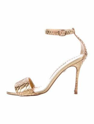 Manolo Blahnik Snakeskin Sandals Gold