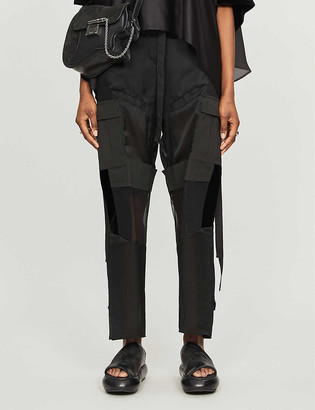 Sacai Contrast-panel straight high-rise crepe trousers