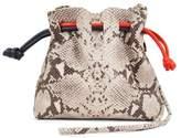 Clare Vivier Petite Henri Supreme Snakeskin Embossed Leather Bucket Bag - Brown