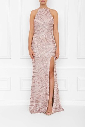 Honor Gold Harley Rose Pink Sequin Backless Maxi Dress With Split