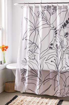 Deny Designs Megan Galante For Deny Charcoal Tropics Shower Curtain