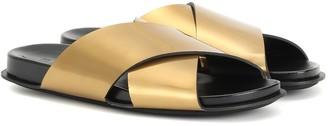 Marni Metallic leather slides