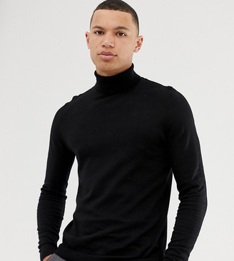 ASOS DESIGN Tall cotton roll neck in black