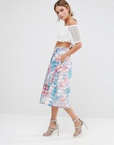 Oasis Digital Floral Midi Skirt