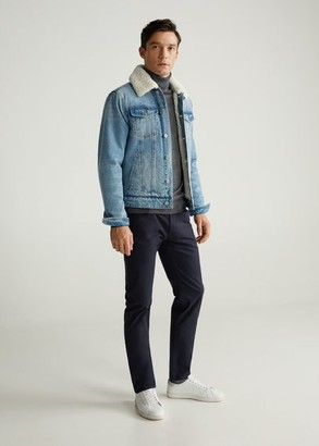 MANGO MAN - Faux shearling-lined denim jacket light blue - XL - Men