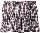 Dondup off shoulder checked top - women - Cotton - 42