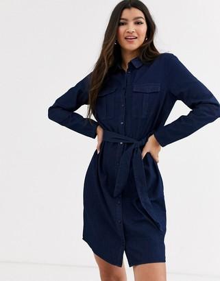 Pimkie tie waist denim mini dress in blue