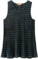 Joe Fresh Women's Sunburst Pleated Sleeveless Blouse, Dark Green (Size S)