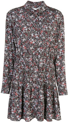 Veronica Beard Floral Print Mini Shirt Dress