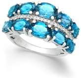 Macy's London Blue Topaz (6-3/8 ct. t.w.) & Diamond (1/8 ct. t.w.) Ring in Sterling Silver