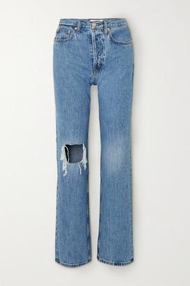 STILL HERE Childhood Distressed High-rise Straight-leg Jeans - Mid denim