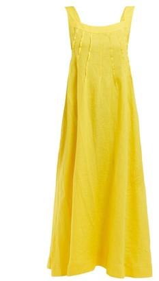 Three Graces London Ninetta Inverted-dart Linen Maxi Dress - Womens - Yellow