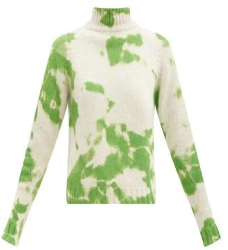 The Elder Statesman Hot Yuma High-neck Tie-dye Cashmere Sweater - Green White