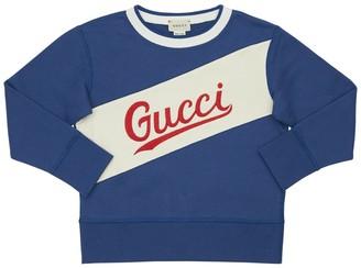 Gucci Logo Embroidered Cotton Sweatshirt