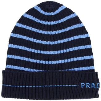 Prada Hat In Ribbed Wool With Striped Pattern And Logo