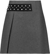 McQ by Alexander McQueen Studded satin-paneled wool-blend felt mini skirt