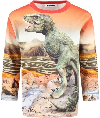 Molo Orange mountoo Sweatshirt For Boy With Dinosaurs