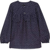 J.Crew Dorito Printed Cotton And Silk-blend Voile Blouse - Navy