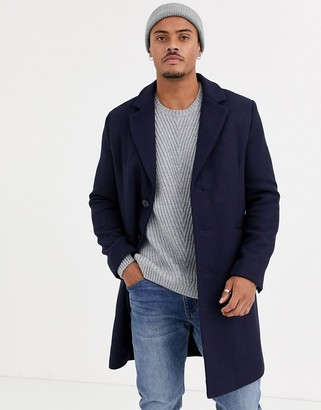 ASOS DESIGN wool mix overcoat in navy