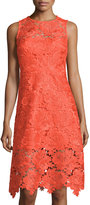 Julia Jordan Illusion-Trim Lace Sleeveless Dress, Orange