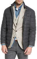 Brunello Cucinelli Quilted Wool-Blend Blazer Jacket, Anthracite