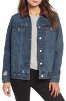BP Women's Faux Fur Collar Denim Jacket