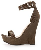 Charlotte Russe Faux Snakeskin Two-Piece Wedge Sandals