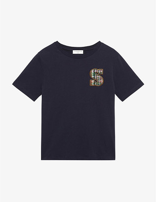 Sandro Saly embellished cotton-jersey T-shirt
