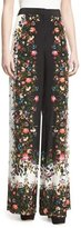 Erdem Wide-Leg Floral-Print Silk Pants, White/Black
