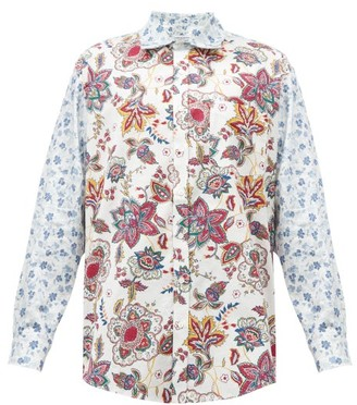 Marine Serre Oversized Floral-print Upcycled-cotton Shirt - White Multi