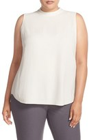 Eileen Fisher Plus Size Women's Silk Crepe Georgette High Neck Sleeveless Blouse