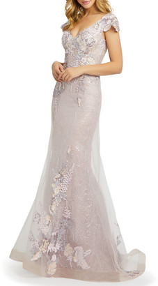 Mac Duggal Floral Embroidered Net Mermaid Gown