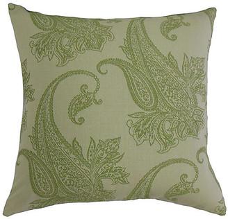 One Kings Lane Damask Pillow - Green/Gray - 18x18