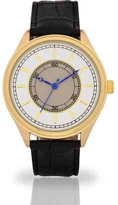 Accutime Watch Corp Men's White Face Fashion Watch, Tan Faux Band