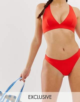 Monki tanga mix & match bikini brief in red-Black