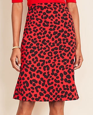 Ann Taylor Petite Cheetah Print Flounce Back Pencil Skirt