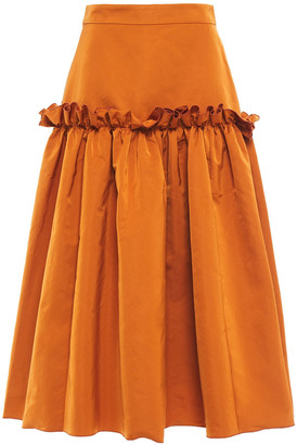 Roksanda Ruffle-trimmed Duchesse-satin Midi Skirt