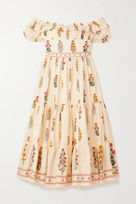Agua Bendita Banana Off-the-shoulder Tiered Floral-print Cotton Midi Dress - White