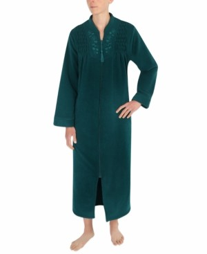 Miss Elaine Brushed-Back Terry Long Zip Robe