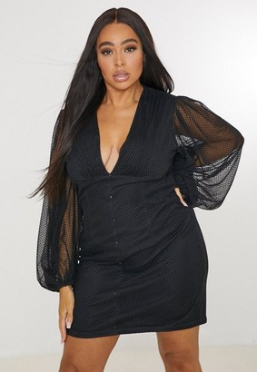 Missguided Plus Size Black Button Through Mini Dress