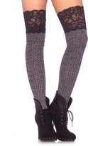 Leg Avenue Gray & Black Lace-Trim Ribbed Over-The-Knee Slouchy Socks
