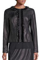 Elie Tahari Cam Leather & Merino Wool Jacket