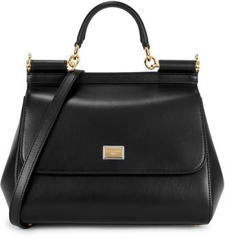 Dolce & Gabbana Sicily medium black leather top handle bag