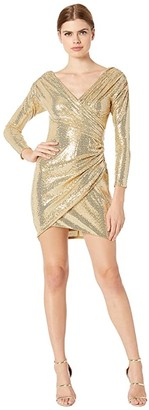 BCBGMAXAZRIA Eve Short Knit Dress (Light Gold) Women's Clothing