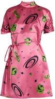 Miu Miu Planet-print duchess-silk dress