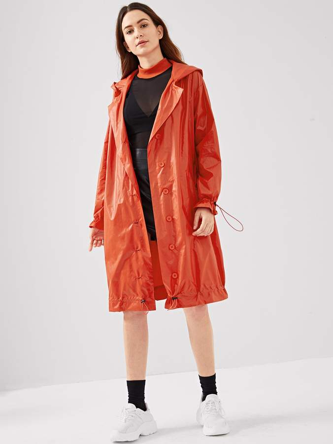 Drawstring Cuff and Hem Button Up Raincoat