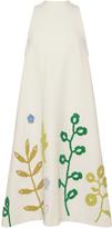 Vika Gazinskaya Crochet Leaves Embellished Sleeveless Jersey Dress