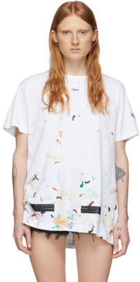 Off-White SSENSE Exclusive White and Multicolor Paint Splatter T-Shirt
