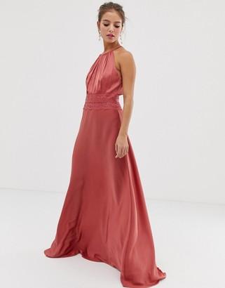 Little Mistress lace insert satin maxi dress in terracotta-Red
